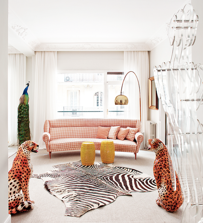 pink houndstooth sofa