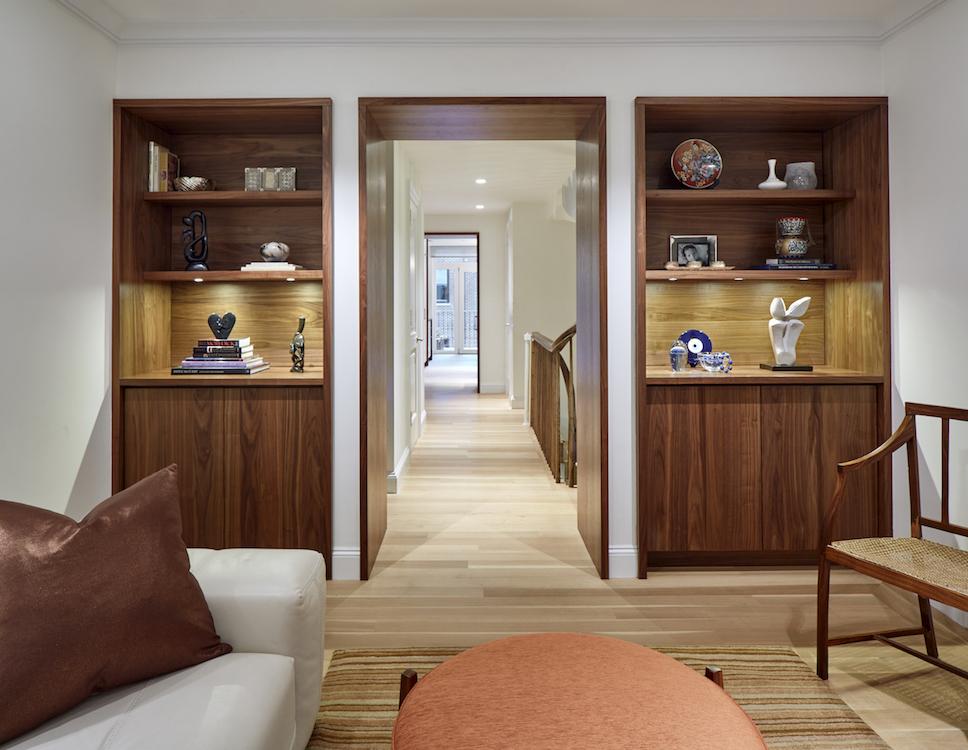 built-in wooden shelves