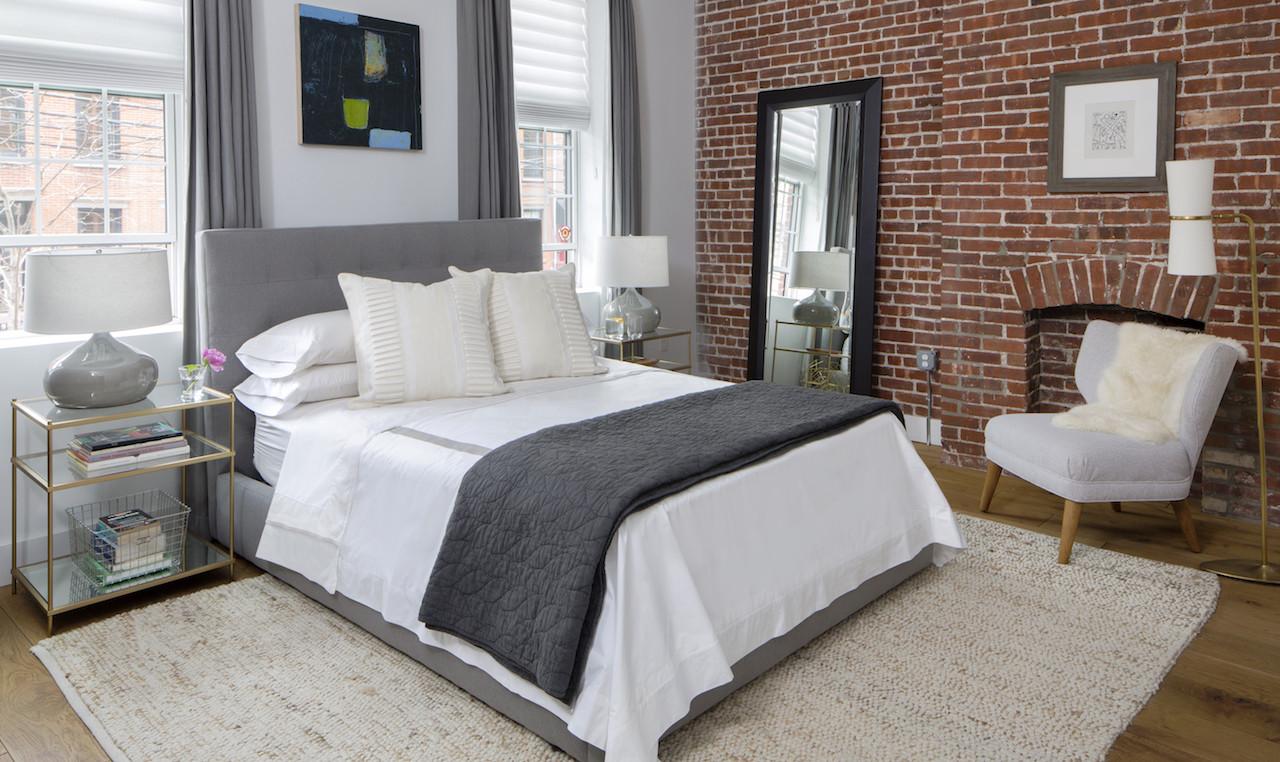 brick gray master bedroom