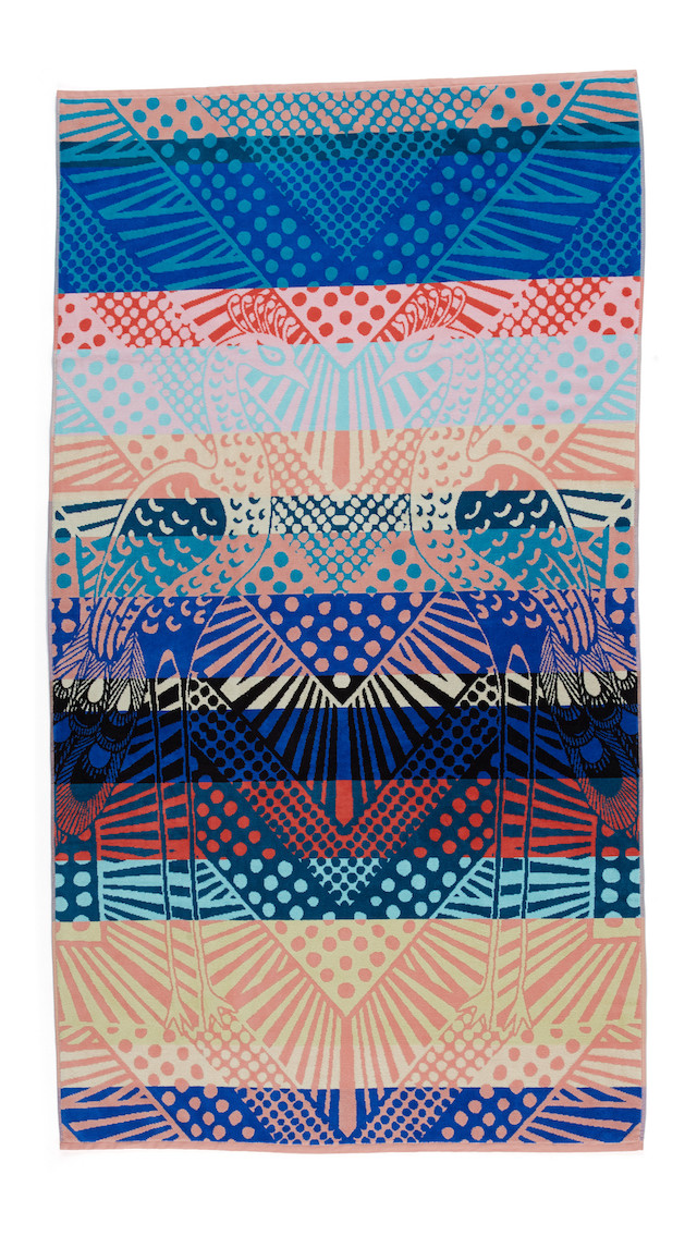multicolored beach towel with graphic print