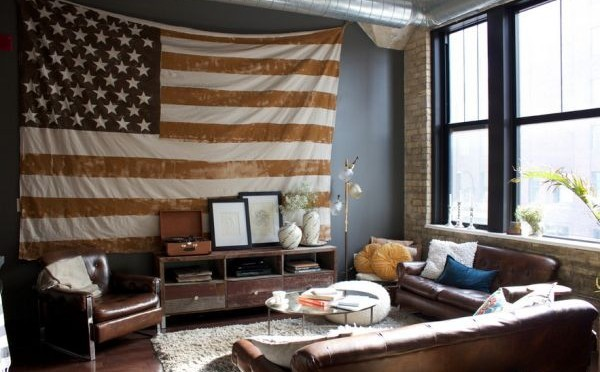 Tapestry with American flag