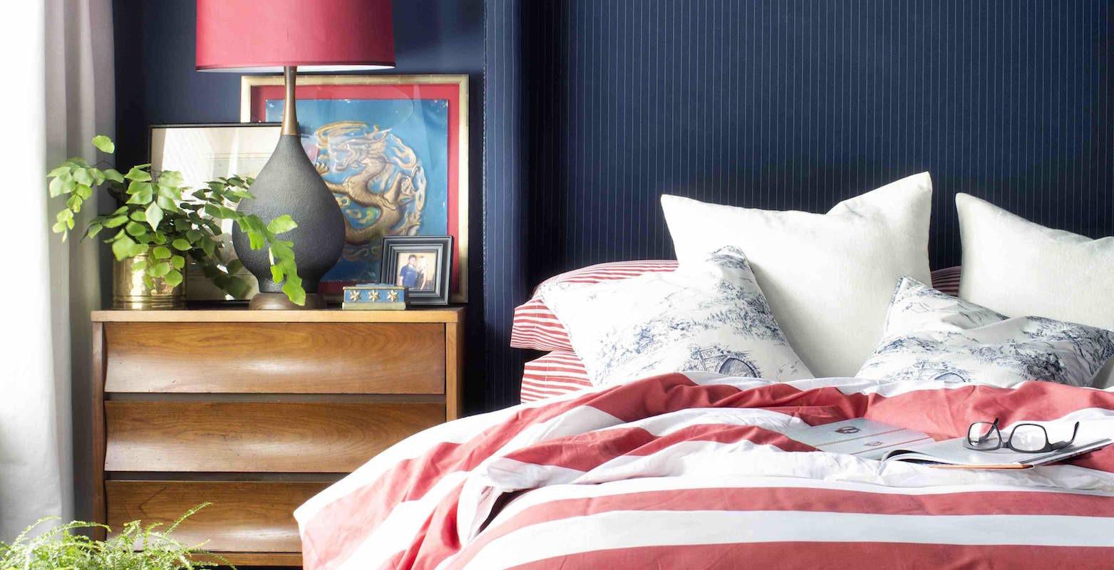 Red white blue bedroom