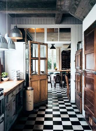 Retro kitchen checkerboard floor
