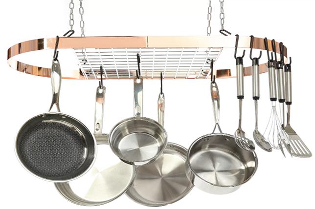 Hanging pot rack, kitchen decor and organization tips