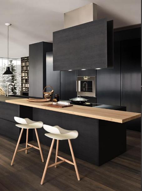 black kitchen wood counter