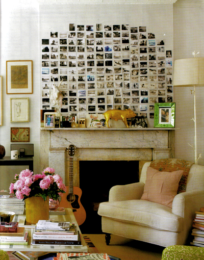 Instagram photos grate over fireplace